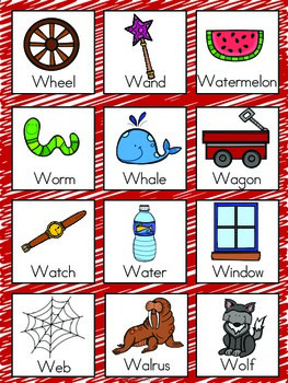 Letter W Vocabulary Cards by The Tutu Teacher | Teachers ...