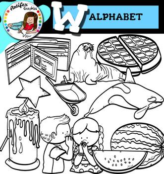 Letter W clip art set