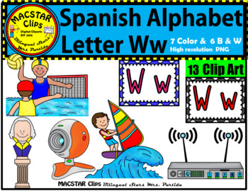 Letter W w Spanish Alphabet Clip Art   Letra Ww Personal and Commercial Use