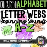 Letter Webs: Cut & Paste Beginning Sound Worksheets {Common Core Aligned}