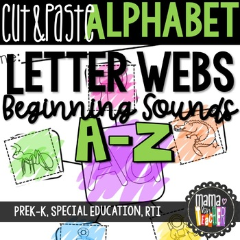 Letter Webs: Cut & Paste Beginning Sound Worksheets {Commo