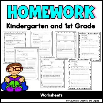 Letter, Word Family, and Phonics Homework Pages