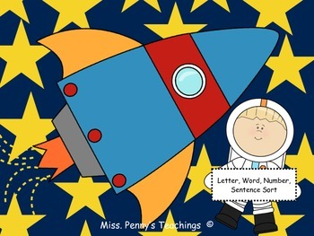 Letter, Word, Number, Sentence Sort (Outer Space Themed!)