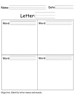 Letter-Word Practice sheet