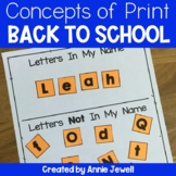 Back to School Kindergarten Print Awareness with Letter Word Sentence Activities