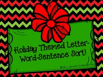 Letter-Word-Sentence Holiday Themed Cut & Paste Sort