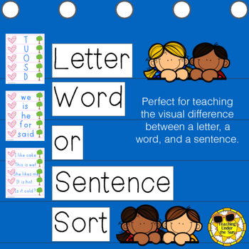 Letter, Word, or Sentence Sort, Concept of Print, Printable