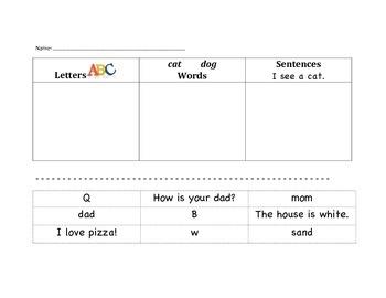 Letter Word Sentence Sort