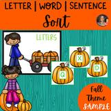 Letter Word Sentence Sort Sample
