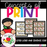 Concepts of Print- letter word and sentence sort