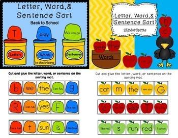 Letter Word And Sentence Sort Bundle