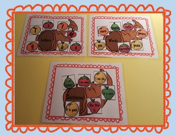Letter, Word, and Sentence Sort Thanksgiving
