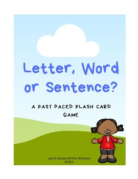 Letter, Word or Sentence Flash Card Game