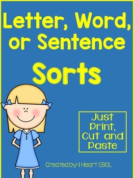 Letter, Word, or Sentence Sorts Cut and Paste