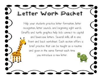 Letter Work Packet - Formation, Recognition, Sound, Sentences