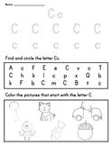 Letter Worksheet: C