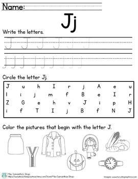 Letter Worksheet: J