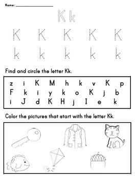 Letter Worksheet: K