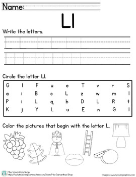 Letter Worksheet: L