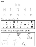 Letter Worksheet: N