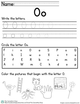 Letter Worksheet: O