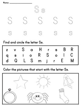 Letter Worksheet: S