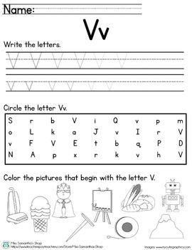 Letter Worksheet: V