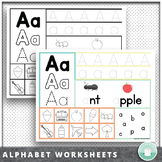 Preschool - Kindergarten Alphabet Recognition Letter Tracing Worksheets
