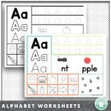 Preschool - Kindergarten Alphabet Recognition Letter Tracing Worksheets