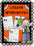 Letter Worksheets- Trace, Write, Circle and Color