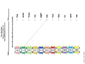 SPELLING: Letter Worksheets and Flashcards - Spelling Numbers 0 through 10