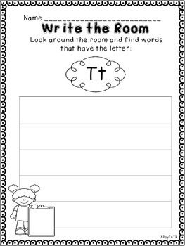 Letter Write the Room for TK Freebie