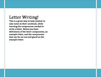 Letter Writing Notes for Interactive Notebooks