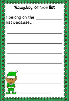 Letter Writing FREEBIE - Naughty or Nice Christmas Writing Letter