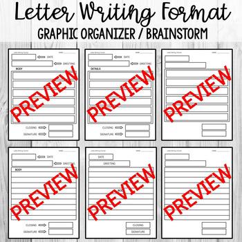 Letter Writing Format Graphic Organizer / Brainstorm