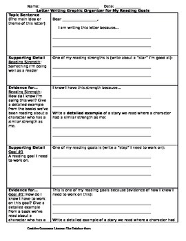 """Letter Writing Graphic Organizer for """"My Reading Goals"""""""