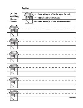 Handwriting House / Letter Writing House: Lined paper for handwriting practice