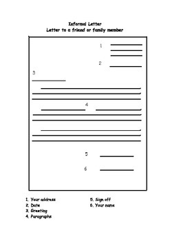 Letter Writing - Writing Frame for Informal Letter