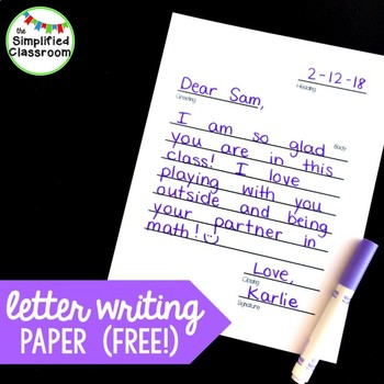 Letter Writing Paper / Parts of a Letter {FREEBIE!}