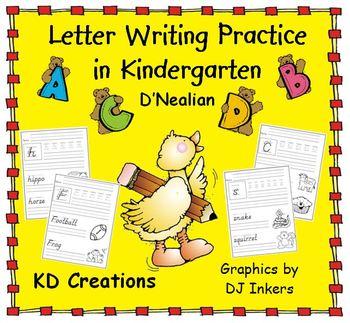 Letter Writing Practice in Kindergarten  *D'Nealian*