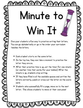 Letter Writing Practice - Minute To Win It