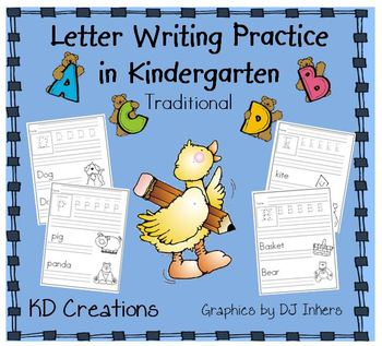 Letter Writing Practice in Kindergarten  *Traditional*