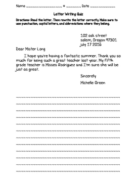 Letter Writing Quiz