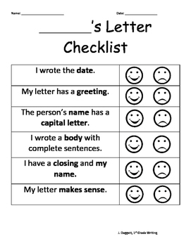Letter Writing Rubric Checklist!