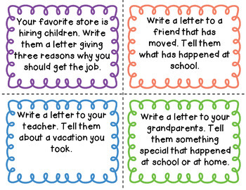 Letter Writing Task Cards & Printables