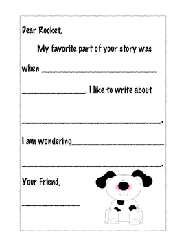 Letter Writing Template for Rocket Writes a Story