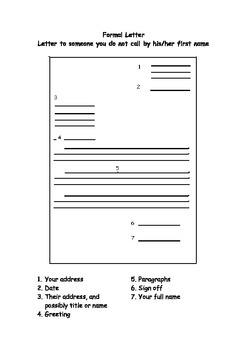 Letter Writing - Writing Frame for Formal Letter