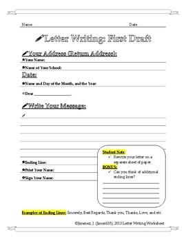 Letter Writting Worksheet: First Draft