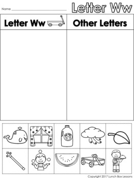 Letter Ww Beginning Sound Sort/Phonemic Awareness *FREE*