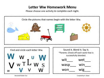 Letter Ww Homework Menu